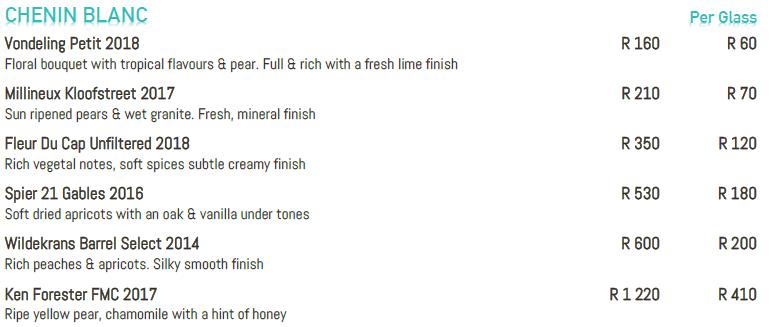 bowld wine list chenin blanc