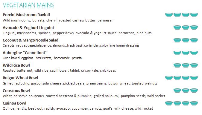 menu vegetarian mains